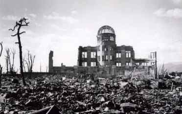A photo of the Atomic Dome immediately after the bombing